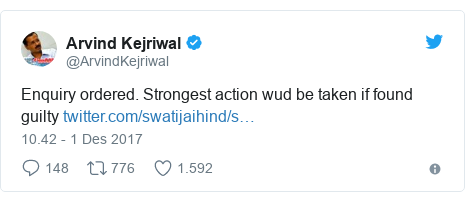 Twitter pesan oleh @ArvindKejriwal: Enquiry ordered. Strongest action wud be taken if found guilty