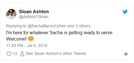 Twitter post by @Ashton7Sloan: I'm here for whatever Sacha is removing prepared to serve. Welcome!