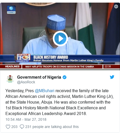 Twitter post by @AsoRock: Yesterday, Pres @MBuhari received the family of the late African American civil rights activist, Martin Luther King (Jr), at the State House, Abuja. He was also conferred with the 1st Black History Month National Black Excellence and Exceptional African Leadership Award 2018.