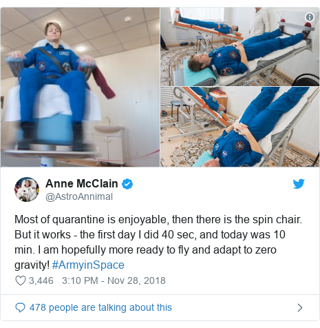 Twitter post by @AstroAnnimal: Most of quarantine is enjoyable, then there is the spin chair. But it works - the first day I did 40 sec, and today was 10 min. I am hopefully more ready to fly and adapt to zero gravity! #ArmyinSpace