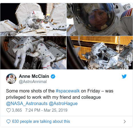 Twitter post by @AstroAnnimal: Some more shots of the #spacewalk on Friday – was privileged to work with my friend and colleague @NASA_Astronauts @AstroHague