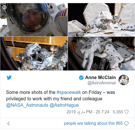 ٹوئٹر پوسٹس @AstroAnnimal کے حساب سے: Some more shots of the #spacewalk on Friday – was privileged to work with my friend and colleague @NASA_Astronauts @AstroHague