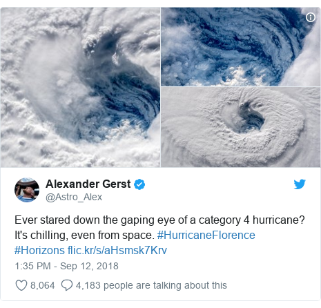 Twitter post by @Astro_Alex: Ever stared down the gaping eye of a category 4 hurricane? It's chilling, even from space. #HurricaneFlorence #Horizons