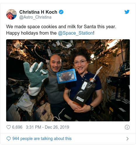 Twitter post by @Astro_Christina: We made space cookies and milk for Santa this year. Happy holidays from the @Space_Station!