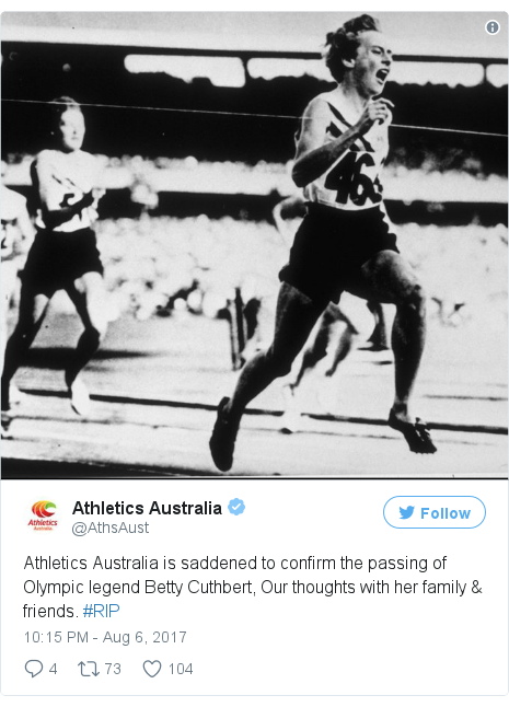 Twitter post by @AthsAust