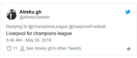Twitter post by @AtrekuGodwin: Liverpool for champions league