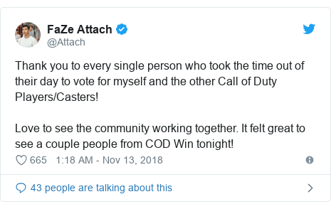 Twitter post by @Attach: Thank you to every single person who took the time out of their day to vote for myself and the other Call of Duty Players/Casters!Love to see the community working together. It felt great to see a couple people from COD Win tonight!