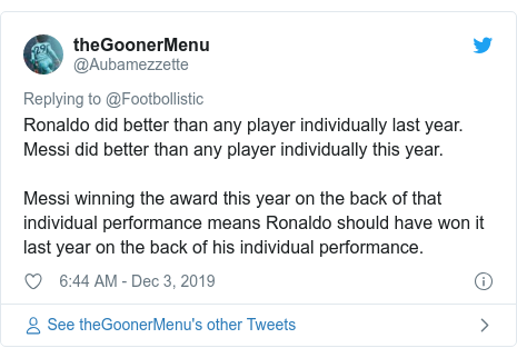 Twitter post by @Aubamezzette: Ronaldo did better than any player individually last year.Messi did better than any player individually this year.Messi winning the award this year on the back of that individual performance means Ronaldo should have won it last year on the back of his individual performance.