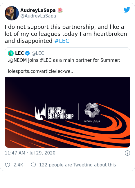 Twitter post by @AudreyLaSapa: I do not support this partnership, and like a lot of my colleagues today I am heartbroken and disappointed #LEC