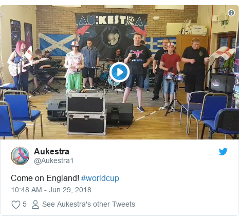 Twitter post by @Aukestra1: Come on England! #worldcup