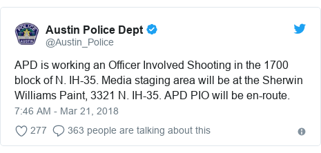 Twitter post by @Austin_Police: APD is working an Officer Involved Shooting in the 1700 block of N. IH-35. Media staging area will be at the Sherwin Williams Paint, 3321 N. IH-35. APD PIO will be en-route.