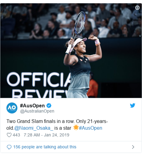 Twitter post by @AustralianOpen: Two Grand Slam finals in a row. Only 21-years-old.@Naomi_Osaka_ is a star 🌟#AusOpen