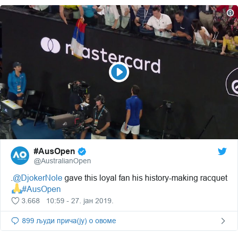 Twitter post by @AustralianOpen: .@DjokerNole gave this loyal fan his history-making racquet 🙏#AusOpen