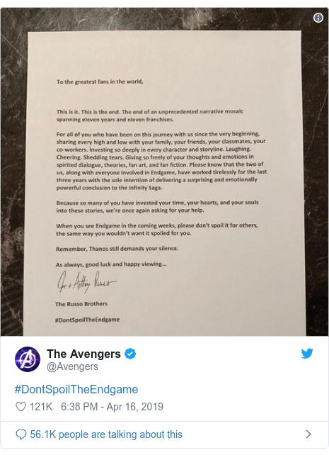 Twitter post by @Avengers: #DontSpoilTheEndgame