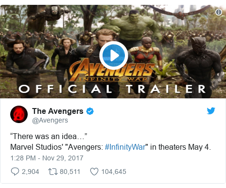 """Twitter post by @Avengers: """"There was an idea…"""" Marvel Studios' """"Avengers  #InfinityWar"""" in theaters May 4."""