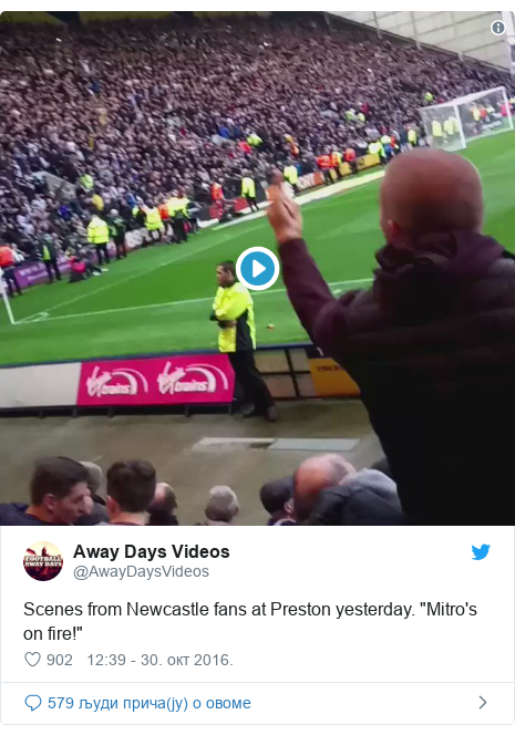 "Twitter post by @AwayDaysVideos: Scenes from Newcastle fans at Preston yesterday. ""Mitro's on fire!"""