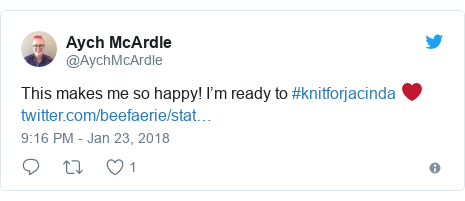 Twitter post by @AychMcArdle: This makes me so happy! I'm ready to #knitforjacinda ❤️