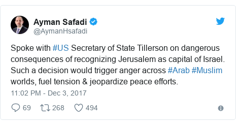 Twitter постту @AymanHsafadi жазды: Spoke with #US Secretary of State Tillerson on dangerous consequences of recognizing Jerusalem as capital of Israel. Such a decision would trigger anger across #Arab #Muslim worlds, fuel tension & jeopardize peace efforts.