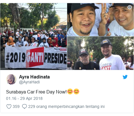 Twitter pesan oleh @AyraHadi: Surabaya Car Free Day Now!😊😊