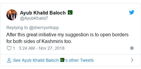 Twitter post by @AyubKhalid7: After this great initiative my suggestion is to open borders for both sides of Kashmiris too.