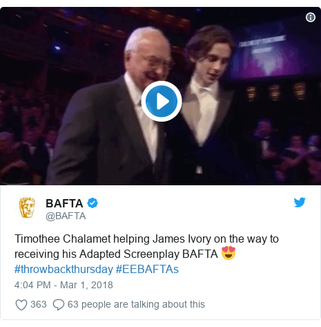 Twitter post by @BAFTA: Timothee Chalamet helping James Ivory on the way to receiving his Adapted Screenplay BAFTA 😍 #throwbackthursday #EEBAFTAs