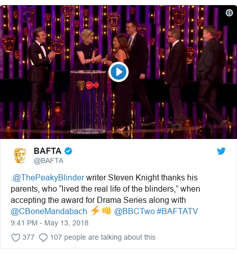 """Twitter post by @BAFTA: .@ThePeakyBlinder writer Steven Knight thanks his parents, who """"lived the real life of the blinders,"""" when accepting the award for Drama Series along with @CBoneMandabach ⚡️👊 @BBCTwo #BAFTATV"""
