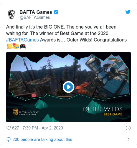 Twitter post by @BAFTAGames: And finally it's the BIG ONE. The one you've all been waiting for. The winner of Best Game at the 2020 #BAFTAGames Awards is… Outer Wilds! Congratulations 👏🥳🎮
