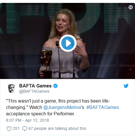 """Twitter post by @BAFTAGames: """"This wasn't just a game, this project has been life-changing."""" Watch @JuergensMelina's  #BAFTAGames acceptance speech for Performer."""