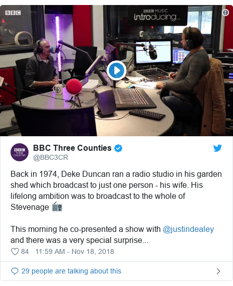 Twitter post by @BBC3CR: Back in 1974, Deke Duncan ran a radio studio in his garden shed which broadcast to just one person - his wife. His lifelong ambition was to broadcast to the whole of Stevenage 📻This morning he co-presented a show with @justindealey and there was a very special surprise...