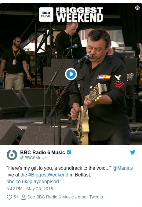 "Twitter post by @BBC6Music: ""Here's my gift to you, a soundtrack to the void..."" @Manics live at the #BiggestWeekend in Belfast"
