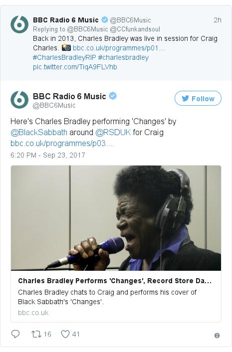 Twitter post by @BBC6Music: Here's Charles Bradley performing 'Changes' by @BlackSabbath around @RSDUK for Craig https //t.co/2jpIPadOdr