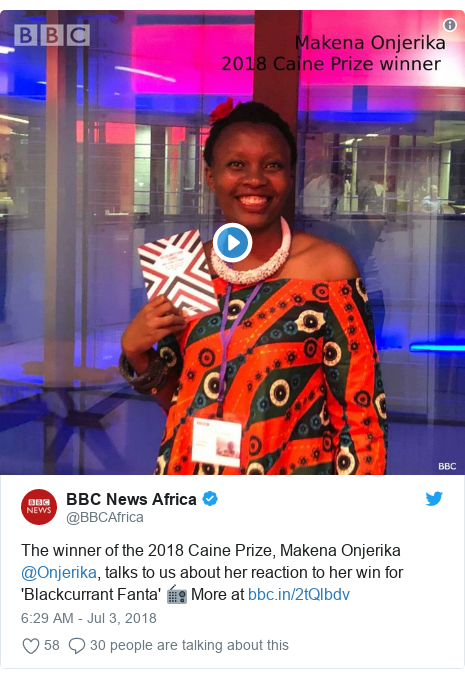 Twitter post by @BBCAfrica: The winner of the 2018 Caine Prize, Makena Onjerika @Onjerika, talks to us about her reaction to her win for 'Blackcurrant Fanta' 📻 More at