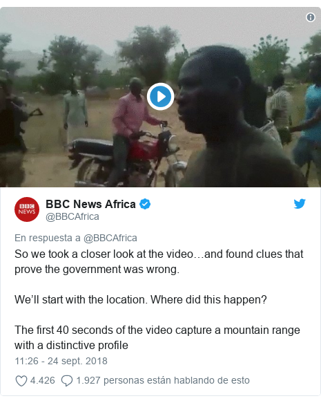 Publicación de Twitter por @BBCAfrica: So we took a closer look at the video…and found clues that prove the government was wrong. We'll start with the location. Where did this happen? The first 40 seconds of the video capture a mountain range with a distinctive profile