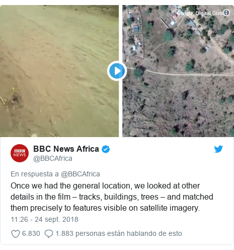 Publicación de Twitter por @BBCAfrica: Once we had the general location, we looked at other details in the film – tracks, buildings, trees – and matched them precisely to features visible on satellite imagery.