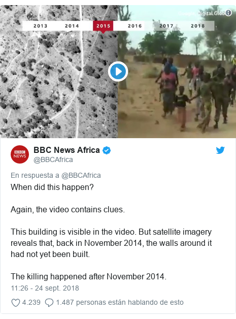 Publicación de Twitter por @BBCAfrica: When did this happen? Again, the video contains clues. This building is visible in the video. But satellite imagery reveals that, back in November 2014, the walls around it had not yet been built. The killing happened after November 2014.