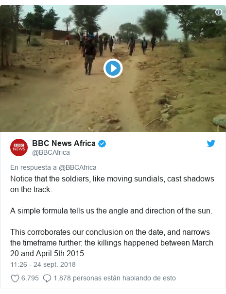 Publicación de Twitter por @BBCAfrica: Notice that the soldiers, like moving sundials, cast shadows on the track. A simple formula tells us the angle and direction of the sun. This corroborates our conclusion on the date, and narrows the timeframe further  the killings happened between March 20 and April 5th 2015