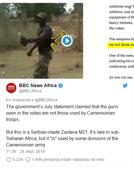 Publicación de Twitter por @BBCAfrica: The government's July statement claimed that the guns seen in the video are not those used by Cameroonian troops. But this is a Serbian-made Zastava M21. It's rare in sub-Saharan Africa, but it *is* used by some divisions of the Cameroonian army.