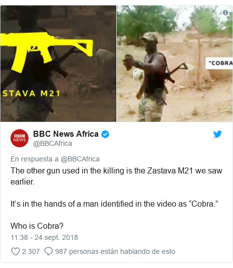 """Publicación de Twitter por @BBCAfrica: The other gun used in the killing is the Zastava M21 we saw earlier. It's in the hands of a man identified in the video as """"Cobra."""" Who is Cobra?"""