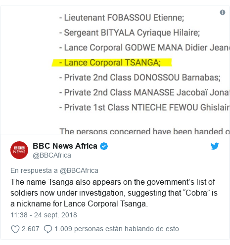 """Publicación de Twitter por @BBCAfrica: The name Tsanga also appears on the government's list of soldiers now under investigation, suggesting that """"Cobra"""" is a nickname for Lance Corporal Tsanga."""