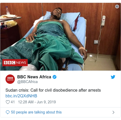 Twitter post by @BBCAfrica: Sudan crisis  Call for civil disobedience after arrests