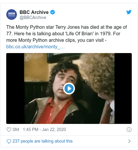Twitter post by @BBCArchive: The Monty Python star Terry Jones has died at the age of 77. Here he is talking about 'Life Of Brian' in 1979. For more Monty Python archive clips, you can visit -