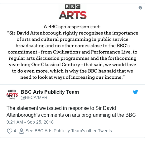 Twitter post by @BBCArtsPR: The statement we issued in response to Sir David Attenborough's comments on arts programming at the BBC