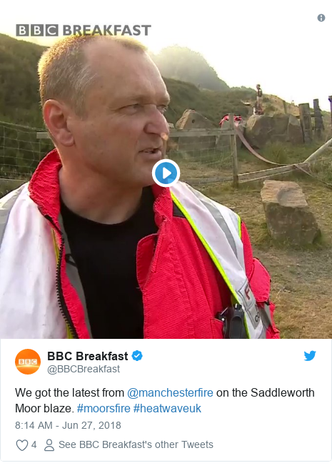 Twitter post by @BBCBreakfast: We got the latest from @manchesterfire on the Saddleworth Moor blaze. #moorsfire #heatwaveuk
