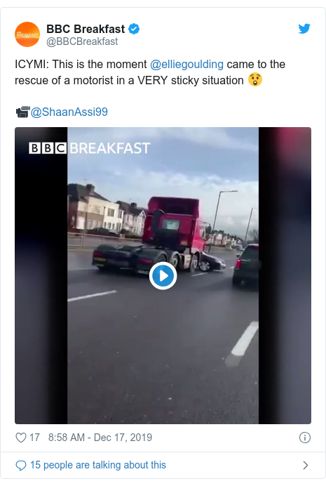 Twitter post by @BBCBreakfast: ICYMI  This is the moment @elliegoulding came to the rescue of a motorist in a VERY sticky situation 😲📹@ShaanAssi99