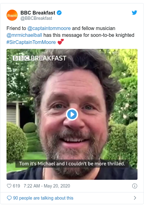 Twitter post by @BBCBreakfast: Friend to @captaintommoore and fellow musician @mrmichaelball has this message for soon-to-be knighted #SirCaptainTomMoore 💕
