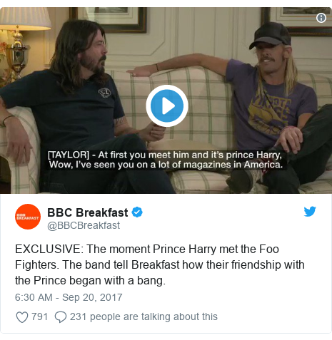 Twitter post by @BBCBreakfast: EXCLUSIVE  The moment Prince Harry met the Foo Fighters. The band tell Breakfast how their friendship with the Prince began with a bang.
