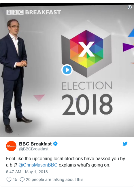 Twitter post by @BBCBreakfast: Feel like the upcoming local elections have passed you by a bit? @ChrisMasonBBC explains what's going on
