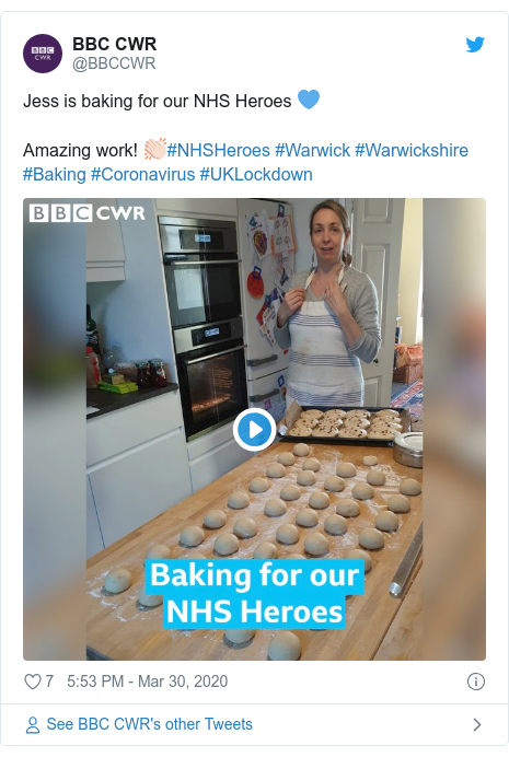 Twitter post by @BBCCWR: Jess is baking for our NHS Heroes 💙Amazing work! 👏🏻#NHSHeroes #Warwick #Warwickshire #Baking #Coronavirus #UKLockdown