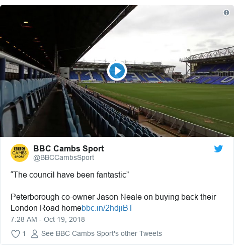 """Twitter post by @BBCCambsSport: """"The council have been fantastic""""Peterborough co-owner Jason Neale on buying back their London Road home"""