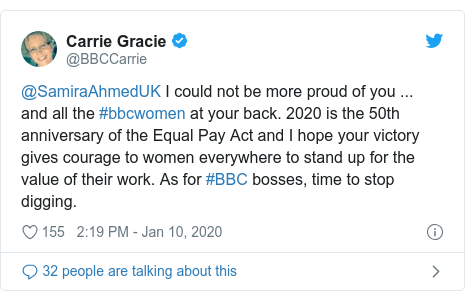 Twitter post by @BBCCarrie: @SamiraAhmedUK I could not be more proud of you ... and all the #bbcwomen at your back. 2020 is the 50th anniversary of the Equal Pay Act and I hope your victory gives courage to women everywhere to stand up for the value of their work. As for #BBC bosses, time to stop digging.